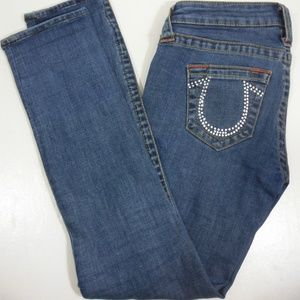 True Religion Womans Cyrstal Accented Pocket Jeans